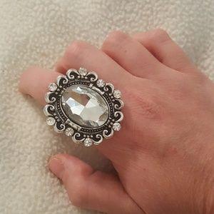 Large Diamond Costume Ring